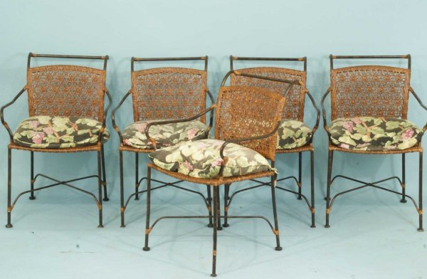 8: FIVE METAL PATIO CHAIRS WITH CUSHIONS