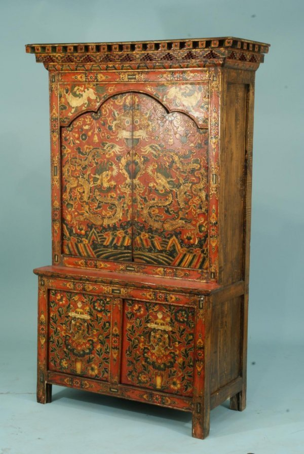 11: ANTIQUE ORIENTAL WOOD FOUR DOOR PAINTED CABINET