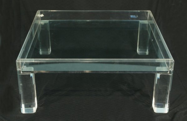 12: LUCITE COFFEE TABLE WITH GLASS TOP