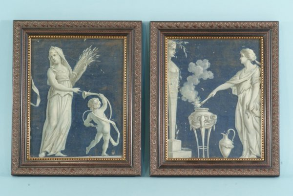 14: TWO FRAMED OIL ON BOARD OF CLASSICAL GREEK FIGURES
