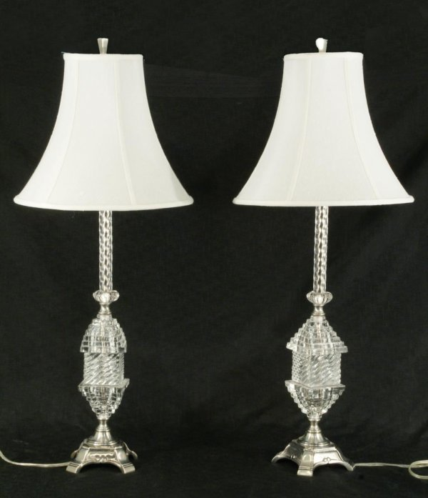 16: PAIR OF CUT CRYSTAL LAMPS ON BRUSHED NICKEL BASES