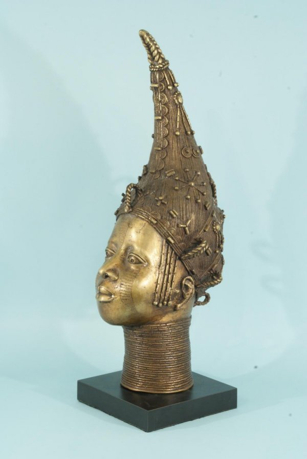 17: QUEEN MOTHER BENIN BRONZE BUST