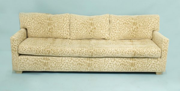 23: SOFA IN LEOPARD PRINT UPHOLSTERY BY OLD HICKORY