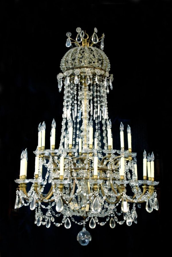 43: 32-LIGHT ANTIQUE FRENCH CRYSTAL & BRASS CHANDELIER