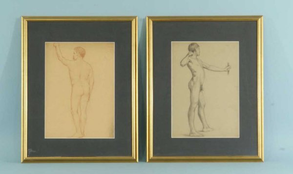 14A: PAIR OF PENCIL ON PAPER DRAWING OF MALE NUDES
