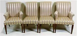 LOT OF EIGHT GOLD SILK UPHOLSTERED DINING CHAIRS