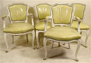 SET OF FOUR VINTAGE FRENCH STYLE PAINTED CHAIRS