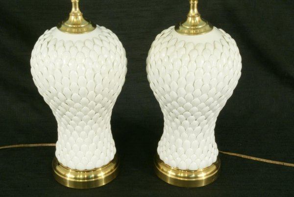 2: PAIR OF WHITE PORCELAIN JARS CONVERTED TO LAMPS