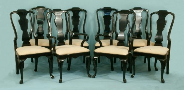 10: SET OF EIGHT BLACK LACQUER CHAIRS