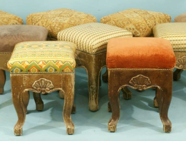 17: FIVE FOOT STOOLS WITH ASSORTED UPHOLSTERY