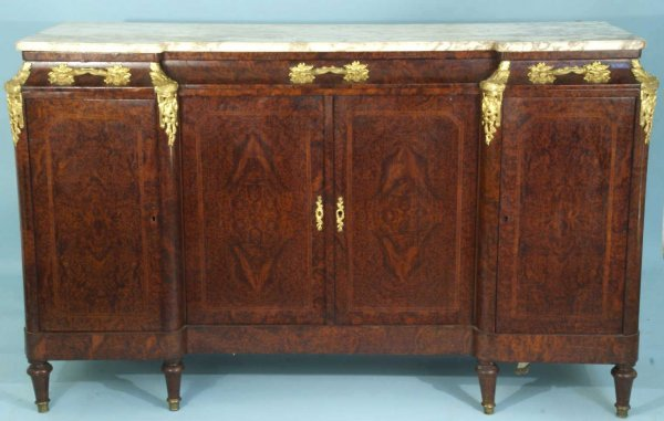 20: ANTIQUE FRENCH BURLED WOOD SIDEBOARD
