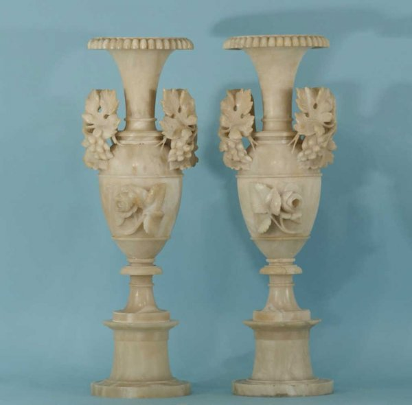 21: PAIR OF 19th CENTURY ITALIAN CARVED ALABASTER URNS