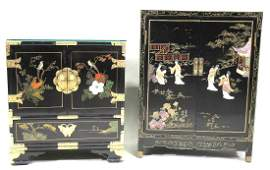 MIXED LOT OF TWO CHINESE LACQUERED CABINETS