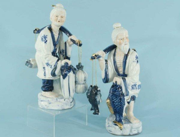 1: CHINESE BLUE & WHITE PORCELAIN FISHERMAN