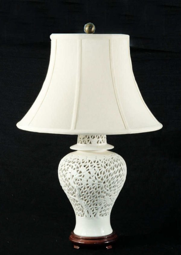 2: PIERCED PORCELAIN LAMP WITH SHADE