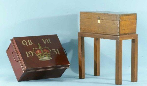"3: ""QB VII 1931"" METAL BOX AND AN OAK COLLECTION BOX"