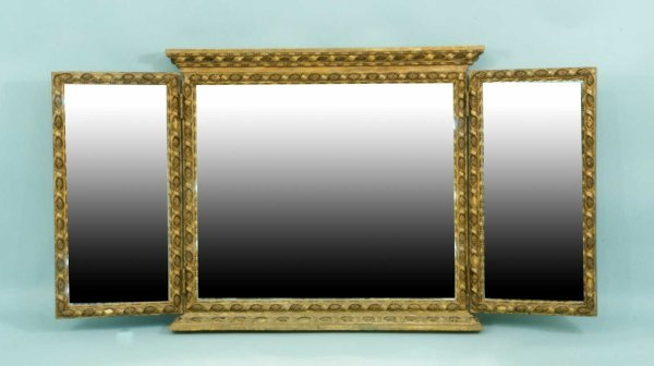 5: WOOD CARVED AND GILDED TRIPTYCH MIRROR