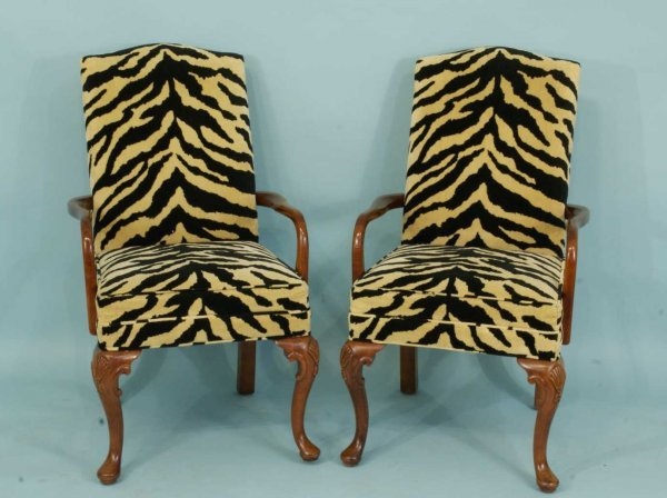 7: PAIR OF CHIPPENDALE STYLE ARMCHAIRS IN ZEBRA PRINT