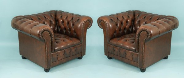 10: VINTAGE BUTTON-TUFTED BROWN LEATHER ARMCHAIRS