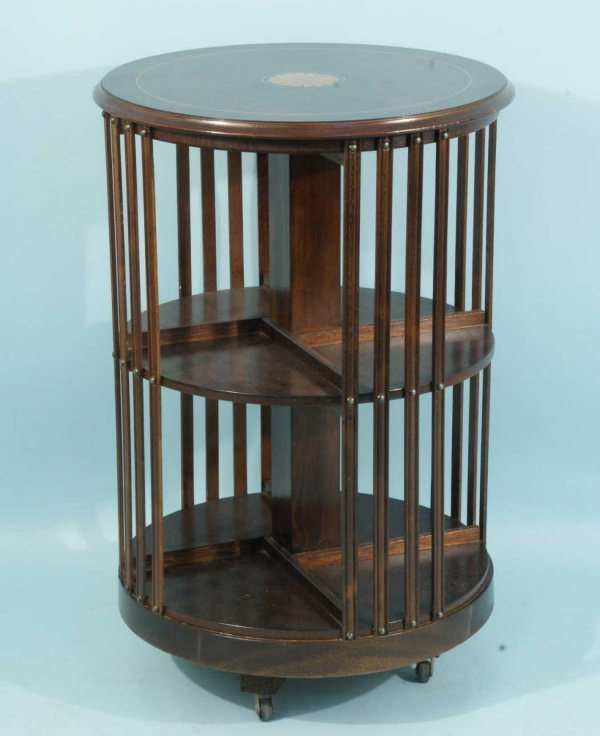 14: INLAID ENGLISH REVOLVING BOOKCASE ON CASTERS