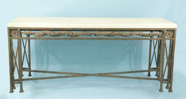 16: WROUGHT IRON CONSOLE WITH HONED TRAVERTINE TOP