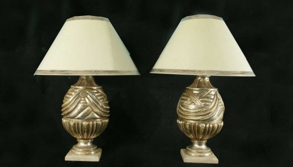 17: CARVED & SILVER-LEAFED URNS CONVERTED TO LAMPS