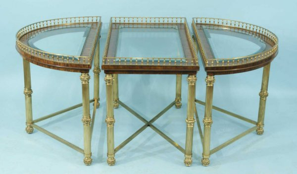 22: THREE-PIECE BRASS COFFEE TABLE BY LA BARGE