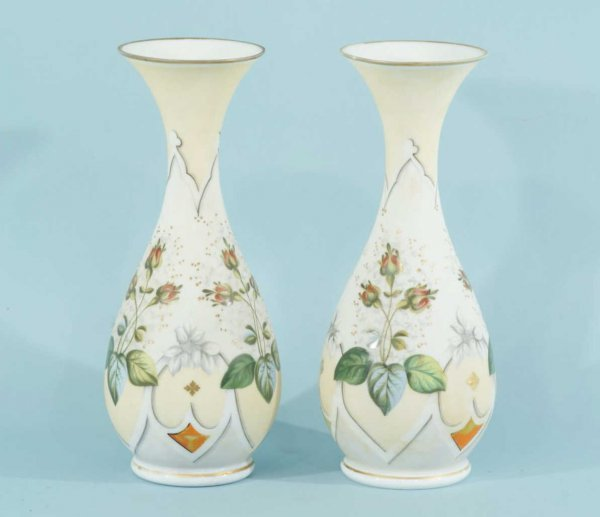 10: PAIR OF ANTIQUE BRISTOL GLASS VASES