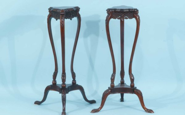 13: PAIR OF MAHOGANY CARVED PLANT STANDS