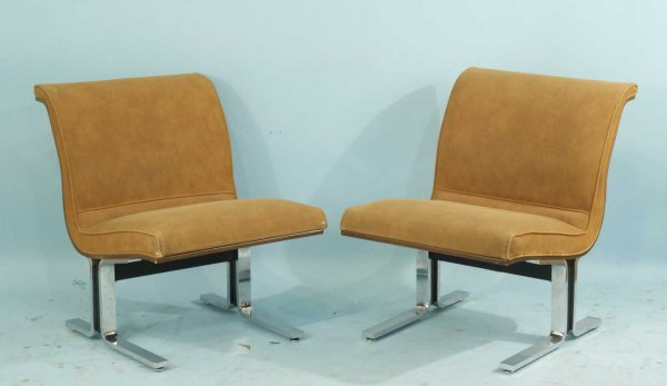 14: VINTAGE HERMAN MILLER CHROME & SUEDE CHAIRS