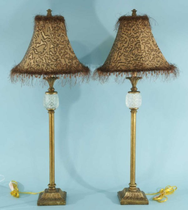 17: PAIR OF TALL TABLE LAMPS WITH CUSTOM SHADES