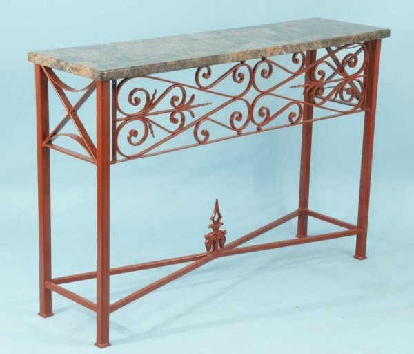 60: WROUGHT IRON CONSOLE WITH MARBLE TOP