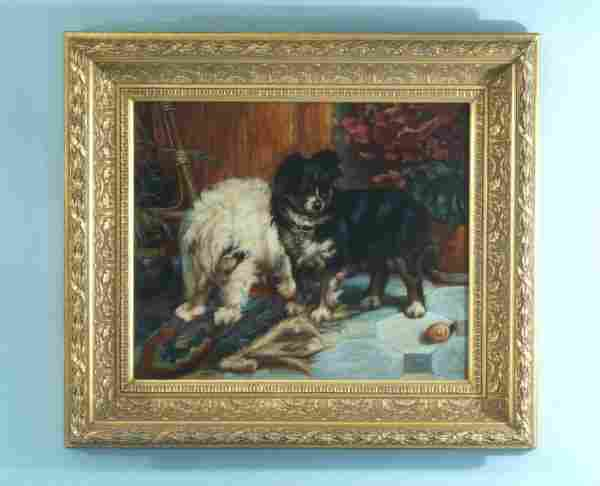 GILT FRAMED OIL ON CANVAS OF DOGS PLAYING