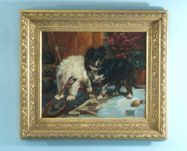 80: GILT FRAMED OIL ON CANVAS OF DOGS PLAYING