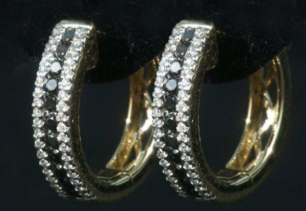 .72 WHITE & BLACK DIAMOND EARRINGS 14K WT