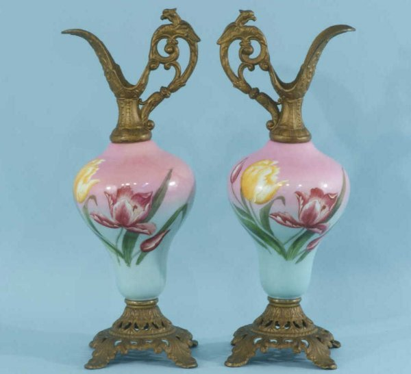 4: PAIR OF VICTORIAN GLASS URNS WITH METAL MOUNTS