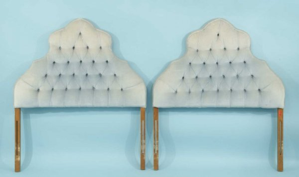9: PAIR OF BUTTON-TUFTED TWIN SIZE HEADBOARDS