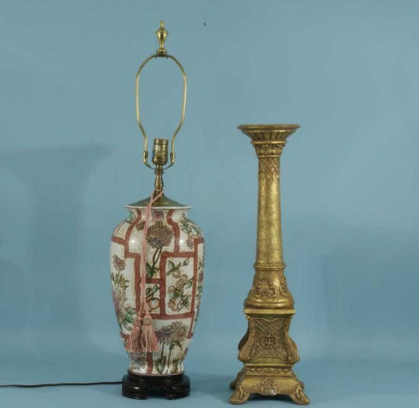 10: FLORAL LAMP AND GILDED CANDLESTICK