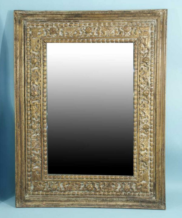 14: WOOD CARVED AND GILDED FRAMED MIRROR