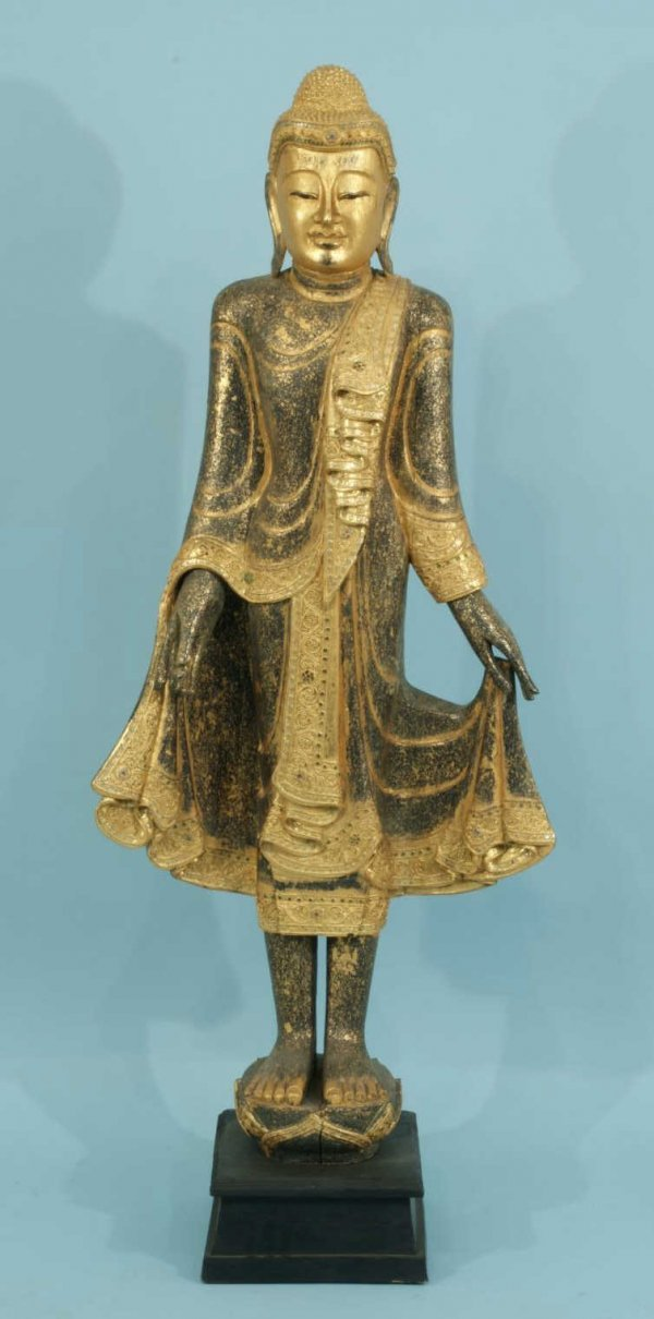 16: WOOD CARVED AND GILDED STANDING BUDDHA