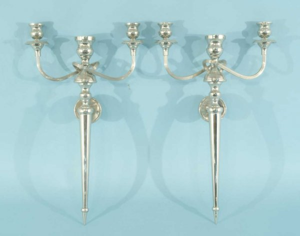17: PAIR OF SILVERPLATED WALL SCONCES WITH SHADES