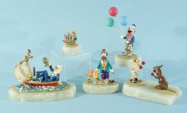 3: LOT OF FIVE CLOWN FIGURES BY RON LEE