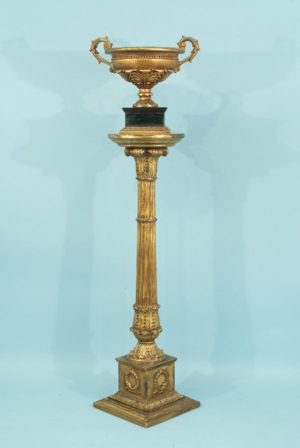 8: WOOD CARVED AND GILDED PEDESTAL AND URN