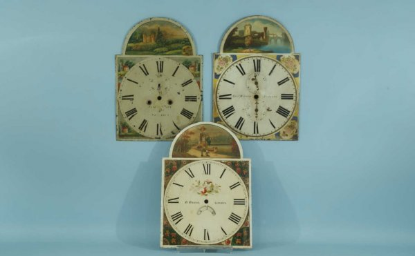 13: ANTIQUE WHIMSICAL PAINTED CLOCK FACES, CIRCA 1860