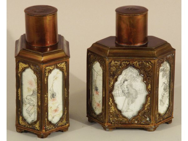 14: 19th CENTURY TEA CADDIES WITH WATERCOLOR INSERTS