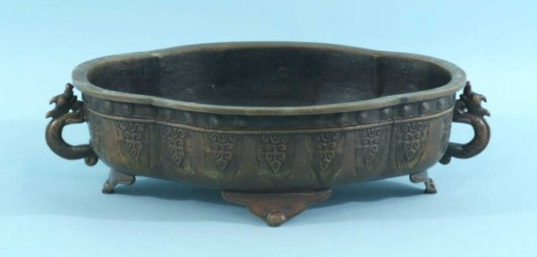 15: ANTIQUE CHINESE FOOTED BRONZE BOWL