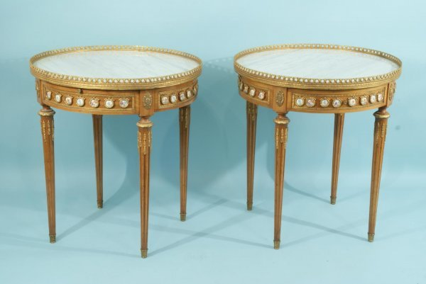 18: PAIR OF MARBLE TOP TABLES WITH BRASS MOUNTS