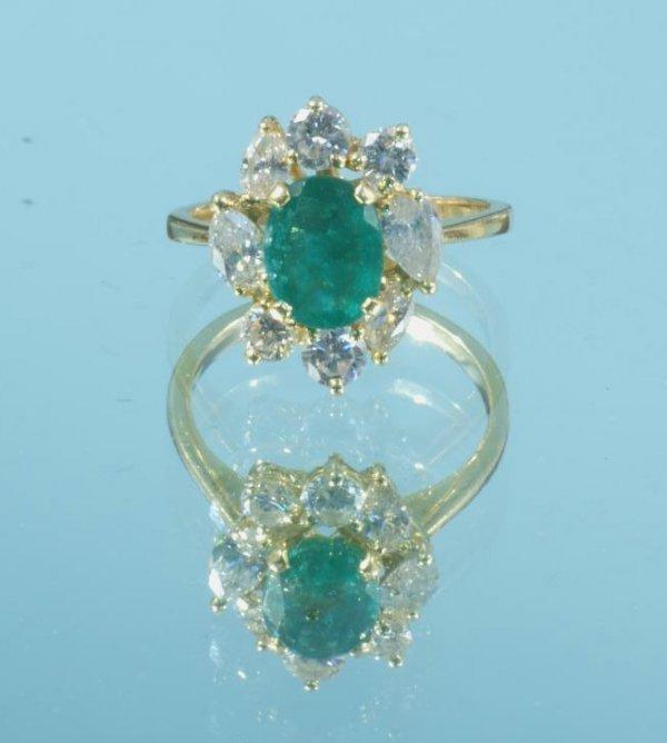 73B: COLUMBIAN EMERALD AND DIAMOND RING IN YELLOW GOLD