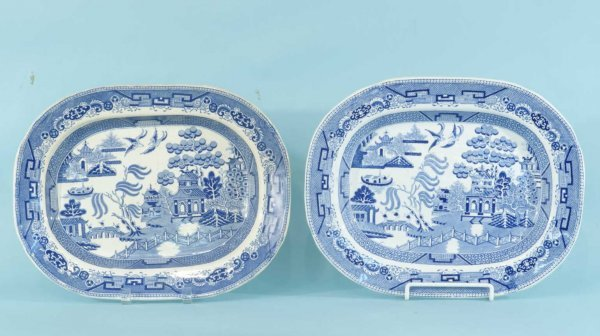 8: PAIR OF ENGLISH BLUE WILLOW PLATTERS