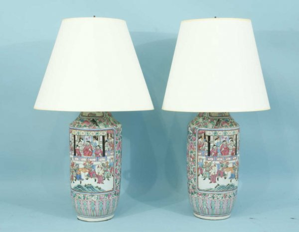 12: PAIR OF 19th CENTURY CHINESE ROSE FAMILLE VASES